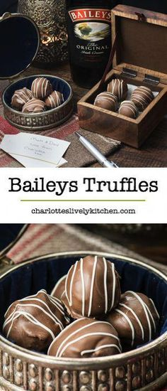 Treat someone you love with homemade Baileys truffles. There are two versions of this recipe, my original chocolate coated truffles and a quick and easy version. Both versions taste absolutely delicious and are the perfect gift someone special. Bailey Truffles, Chocolate Truffles, Chocolate Recipes, Chocolate Truffle Recipe, Chocolate Brownies, Delicious Chocolate, Homemade Sweets, Homemade Candies, Homemade Xmas Gifts