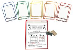 WIPE CLEAN WORKSHEET COVERS & 10 MINI ERASERS Set-Save paper, prep time, and money, and increase kids' engagement! Slide your favorite worksheets into the color-coded clear folders, so kids can write on the front and back with dry erase markers or crayons.