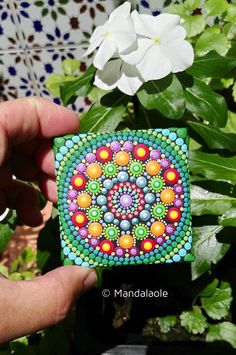 This is a gorgeous miniature painting- so vibrant, colourful and tactile mandala! Mini one of a kind acrylic dot art. MC10 Size: The painting is...