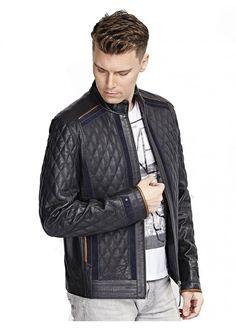 Conte Lacivert Deri Mont / Black Leather Jacket