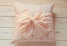 basic fabric pillow with huge fabric bow