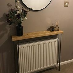 Narrow console table with hairpin legs, wooden rustic hallway table. Narrow console table with hairp Rustic Hallway Table, Rustic Console Tables, Narrow Console Table, Entryway Tables, Rustic Table, Modern Country, Tables Étroites, Radiator Shelf, Narrow Hallway Decorating