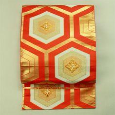 Vermilion fukuro obi / お稽古晴れ着にも 朱色地 亀甲柄 六通袋帯#Kimono #Japan http://global.rakuten.com/en/store/aiyama/