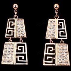 18K Gold Plated Geometric Dangle Drop Earrings 18K Gold Plated Geometric Australian Crystal Stud Dangle Drop Earrings Nickel Free, Anti- Allergy Jewelry Earrings