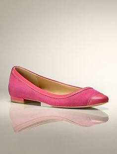 Talbots - Reegan Kid-Skin & Suede Capped-Toe & Heel Flat