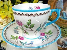 Roslyn Tea Cup and Saucer Derwent Floral Hand Painted