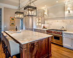Kitchen Kitchen With White Cabinets White Beveled Subway Tiles And Stained Kitchen Island With