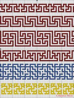 Рисунок chart roman key and cross repeats Tapestry Crochet Patterns, Crochet Motifs, Crochet Diagram, Crochet Chart, Mosaic Patterns, Loom Patterns, Filet Crochet, Diy Crochet, Cross Stitch Patterns