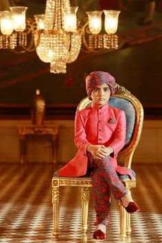 Samyakk Pink Silk Embroidered Achkan Sherwani