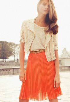 Pleats!!! flowy orange pleated skirt