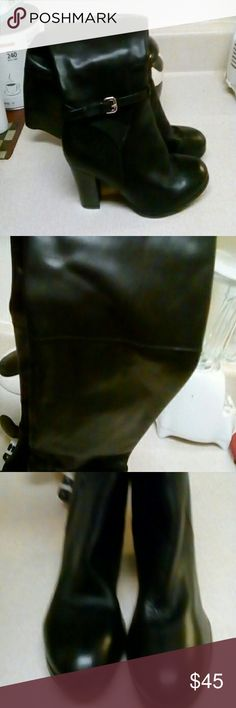 Marc Fisher tall inside zipper black leather boots NWOT. HEELS ARE WOOD AND 3 1/2 INCHES HIGH.  TOP OF THE BOOT IS 16 INCHES,  MIDDLE OR PART OF CALF IS 15 INCHES. IT HAS GIVEN STRETCH PIECE INSIDE. ZIPPER IS ALL THE WAY TO THE TOP OF BOOTS. AROUND ANKLE THERE ARE TWO SMALL STRAPS WITH A  SILVER BUCKLE. BOOT HEIGHT IS 15 1/2 INCHES FROM TOP TO BEGINNING OF HEEL. NICE CHIC STACK HEEL BOOTS. Marc Fisher Shoes Heeled Boots