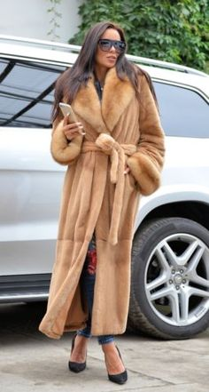NEW 2017 PLUCKED ROYAL MINK RUSSIAN SABLE FUR TRENCH COAT CLAS OF CHINCHILLA FOX