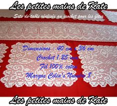 Sets de table réalisés au crochet pour les fêtes. Dimensions : 40 cm x 36 cm. Crochet 1,25 mm. Fil 100% coton. Marque Celia's Numéro 8. Réalisés par Les petites mains de Kate.