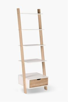 Our leaning ladder shelf is a stylish shelving unit that will work well in any home or office setting. Large Furniture, New Furniture, Living Room Furniture, Leaning Ladder Shelf, Ladder Bookcase, Wood Surface, Floating Shelves, Interior Decorating, Room Dividers