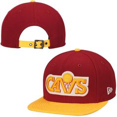 3c50b5aa57e95 Men s Cleveland Cavaliers New Era Wine Hardwood Classics Original Fit  9FIFTY Strapback Adjustable Hat
