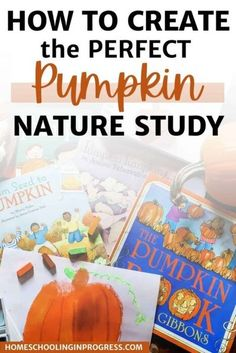 How to Create the Perfect Pumpkin Nature Study for Your Kids Pumpkin Books, Pumpkin Art, Homeschool Coop, Counting In 2s, Gail Gibbons, Book Baskets, Books For Moms, Charlotte Mason, Nature Journal