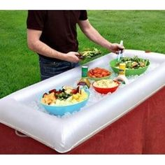 Turn a pool raft into a place to keep food cool.