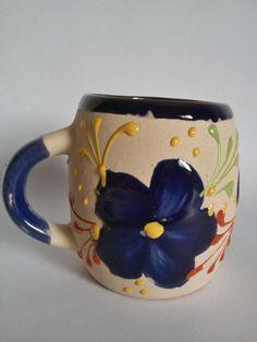 4 Mexican flower Mugs Hand Painted Pot clay , Coffee mug, Chocolate mug