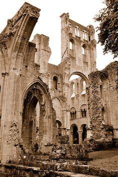 The Jumièges Abbey, one of the most beautiful ruins in France, was pillaged and burnt to ground by the Vikings in the 9th century. Not an ancient ruin, but still beautiful.
