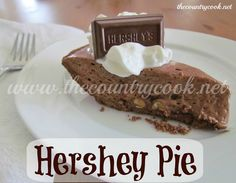 The Country Cook: Hershey Pie.     Loo! I'm trying w/cookies n cream Hershey bars