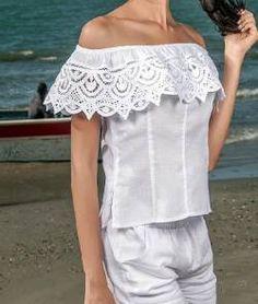 BLUSAS - PRIMAVERAL Bordados y Accesorios White Shorts, Casual, Fashion, Ladies Capes, Dapper Clothing, Block Prints, Women's, Shirt Blouses, Romantic Dresses