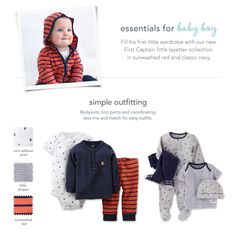 Baby essentials and simple outfitting from Carter's.