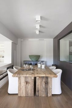 Combining Country Dining Tables with Modern Chairs is Trendy Country Dining Tables, Rustic Table, Dining Room Table, Dining Area, Kitchen Dining, Rustic Wood, Dining Chairs, Raw Wood, Dining Rooms
