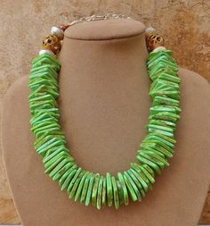 African Copper Fresh Lime Green Turquoise Necklace Disk Jewelry Summer Statement | eBay