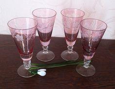 Pink shot glass vintage, Pink stemware, Pink wineglass,Old pink glass, Vintage barware, Retro glass, Vintage glassware, Soviet shot glass