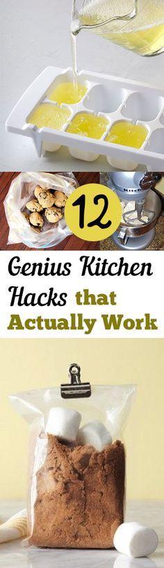 12 Genius #KitchenHacks that Actually Work http://mylistoflists.com/12-genius-kitchen-hacks-that-actually-work/?utm_content=bufferb6347&utm_medium=social&utm_source=pinterest.com&utm_campaign=buffer #advice #tips