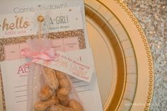 Little peanut party favors for a pink and gold princess elephant baby shower