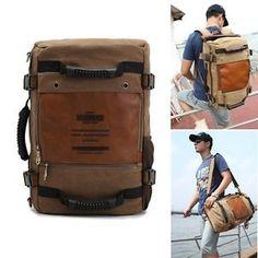 Vintage-Men-039-s-Canvas-backpack-Rucksack-laptop-shoulder-bag-travel-Camping-bag-06