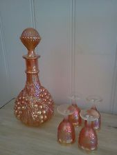 Antique Carnival Glass Grape Pattern Decanter with 4 Sherry Glasses
