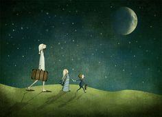 Journey by night - Illustration print x via Etsy. Majali Design and Illustration Moon Art Print, Art Prints, Moon Art, Illustration, Whimsical Art, Art, Night Art, Night Illustration, Illustration Print