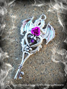 Crystal Drake Key Polished Silver and Magenta by ArtbyStarlaMoore, $15.00