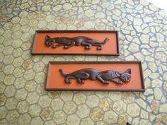 Mid Century Modern Witco Era Tiki Wall Hanging Pair Panther Cat