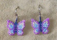 Items similar to Beaded Butterfly Pow Wow Earrings on Etsy Beaded Earrings Patterns, Seed Bead Patterns, Beading Patterns, Beading Tutorials, Bracelet Patterns, Seed Bead Jewelry, Bead Jewellery, Seed Bead Earrings, Seed Beads