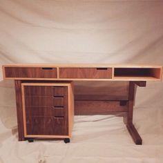 Walnut and Baltic Birch Desk Rolling Drawers, Baltic Birch, Kingston, Table Furniture, Contemporary Furniture, Corner Desk, Shabby Chic, Apartment Ideas, Desks