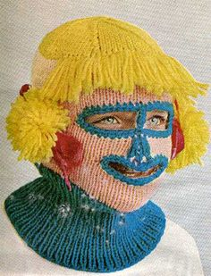 I have a great idea! Let's knit a ski mask and then add a turtle neck and then add hair, and then....  lolololololool