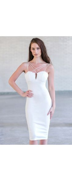Lily Boutique Sleek Silhouette Bodycon Midi Dress in Ivory, $30 Ivory Cocktail…
