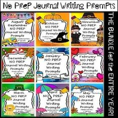 Journal Writing Prompts THE BUNDLE for the ENTIRE YEAR includes 9 months of NO PREP writing prompts for use as a monthly journal or at writing centers in kindergarten or first grade. Check out the preview to see more! All Monthly Packages Include: Binder