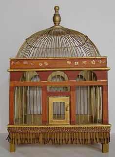 "Beautiful Vintage Asian Gilt Wood Bird Cage. ~ ""You talk when you cease to be at peace with your thoughts. And when you can no longer dwell in the solitude of your heart you live in your lips, and sound is a diversion and a pastime. And in much of your talking, thinking is half murdered. For thought is a bird of space, that in a cage of words may indeed unfold its wings but cannot fly."" Kabila Gibran ~ The Prophet. ~ Via @ekdavern"