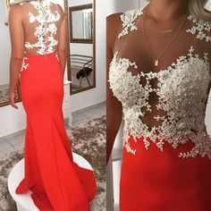 Sheath Illusion Lace Prom Dress,Sexy Mermaid Graduation Dress,Orange