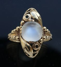 ART NOUVEAU Ring / Gold Moonstone /  Marks: '585' & artist's monogram 'ChrV' European, c.1910