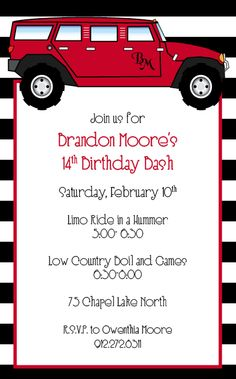 16 best hannahs birthday images on pinterest birthday invitations hummer limo birthday invitation stopboris Image collections