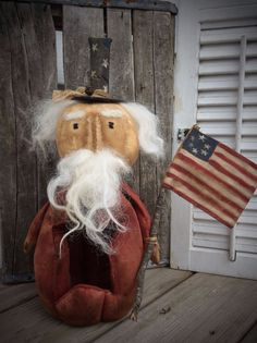 Primitive Grungy Uncle Sam Doll Sitter Americana #NaivePrimitive