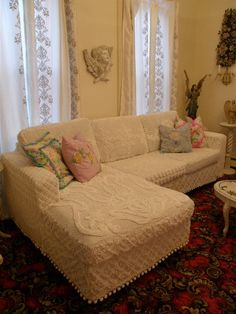 HOW COMFY WOULD THIS BE? shabby couch chic sofa sectional white by VintageChicFurniture. $3,250.00, via Etsy.