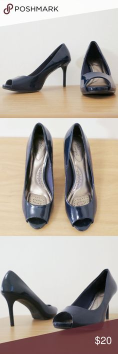 "💓NEW LISTING💓 Navy Patent Leather Peep Toe Heels These adorable shoes were purchased to wear with my Geometric Pattern Skirt (also for sale!). They are VERY comfortable and flattering. In phenomenal condition--only worn a couple times. Heel height is 3.5"" Shoes Heels"