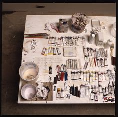 Cy Twombly , Untitled (Say Goodbye Catullus, to the Shores of Asia Minor), The Menil Collection . Cy Twombly 's desk by David Seidne. Cy Twombly, Studios D'art, Dream Studio, Chiaroscuro, Artist At Work, Artist Loft, Oeuvre D'art, Art Photography, Illustration Art