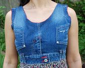 Recycled Denim Jean Dress-Red Trim. $40.00, via Etsy.